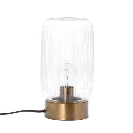 Riverdale Lampe à poser Stripes en laiton doré verre métal Ø15x28cm