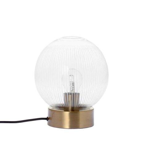 Riverdale Tafellamp Stripes brass goud glas metaal Ø20x23,5cm