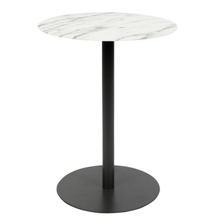 Zuiver Sidetable Snow Round marble black metal S Ø35x45cm