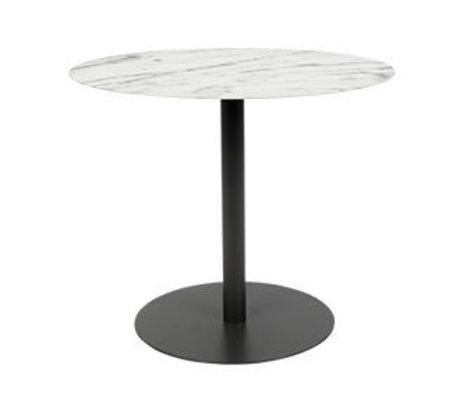 Zuiver Table d'appoint Snow Oval en marbre noir métal 42x31x40cm