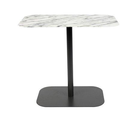 Zuiver Table d'appoint Snow Rectangle en marbre noir métal 50x30x42,5cm
