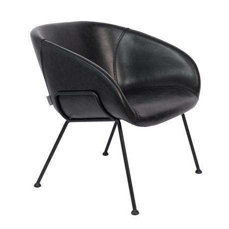 Zuiver Fauteuil Feston schwarz Kunstleder Stahl 70,5x65,5x72cm