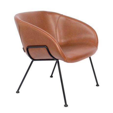 Zuiver Fauteuil Feston marron noir simili cuir acier 70,5x65,5x72cm