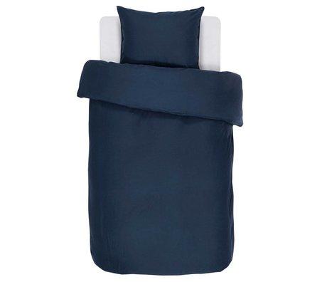 ESSENZA Dekbedovertrek Minte navy blauw katoen satijn 140x220+60x70cm