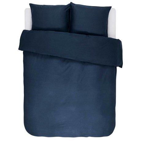 ESSENZA Dekbedovertrek Minte navy blauw katoen satijn 240x220+2/60x70cm