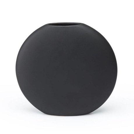 FÉST Vase Obi matt schwarze Keramik M 26x7,5x24cm