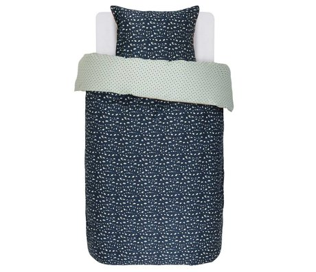 ESSENZA Bettbezug Bory marineblau Baumwolle Satin 140x220 + 60x70cm
