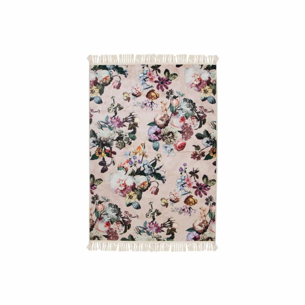 Essenza Tapis Fleur Rose En Polyester 60x90cm Wonen Met Lef