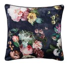 ESSENZA Throw pillow Fleur Nightblue blue velvet polyester 50x50cm