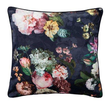 ESSENZA Sierkussen Fleur Nightblue blauw velvet polyester 50x50cm