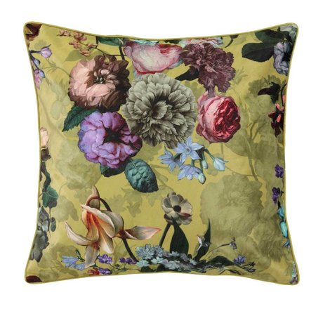 ESSENZA Throw pillow Fleur Golden yellow velvet polyester 50x50cm