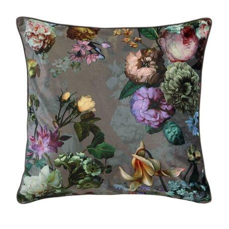ESSENZA Throw pillow Fleur Taupe brown velvet polyester 50x50cm