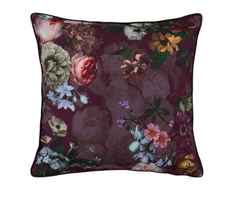 ESSENZA Sierkussen Fleur Burgundy paars velvet polyester 50x50cm