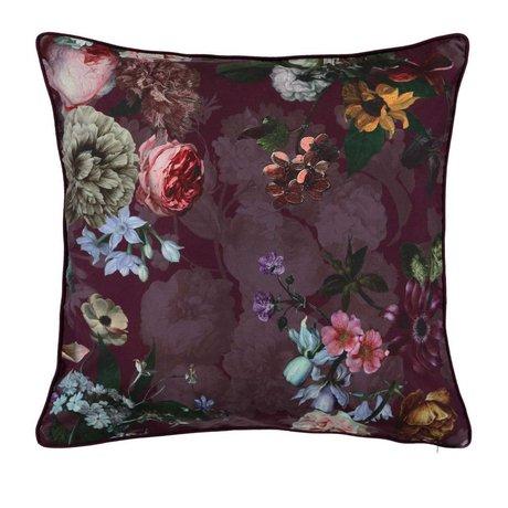 ESSENZA Coussin Fleur Burgundy velours violet polyester 50x50cm