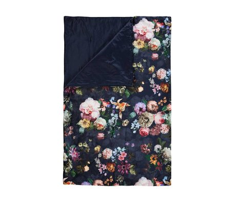 ESSENZA Plaid Fleur Nightblue blauw velvet polyester 135x170cm
