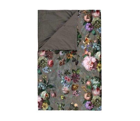 ESSENZA Plaid Fleur Taupe brown velvet polyester 135x170cm
