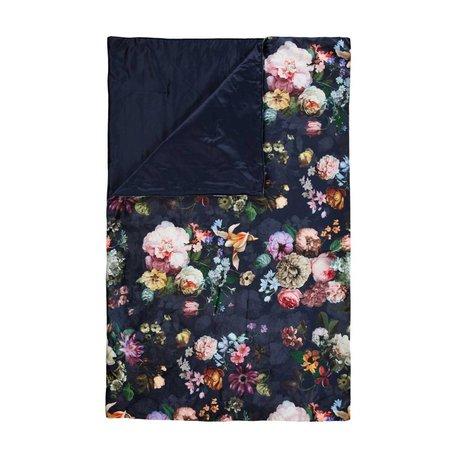 ESSENZA Bedloper Fleur Nightblue blauw velvet polyester 100x240cm