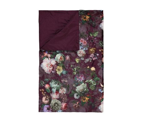 ESSENZA Bedloper Fleur Burgundy paars velvet polyester 100x240cm