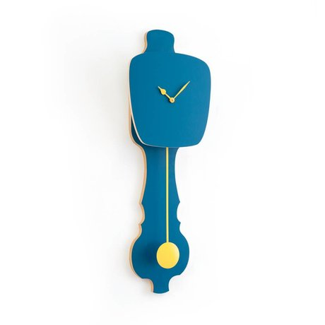KLOQ Clock large petrol blue, yellow wood 75,5x26,2x8cm