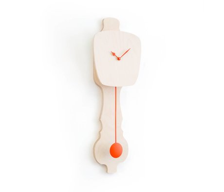 KLOQ Horloge grand bois neutre, bois d'orange 75,5x26,2x8cm