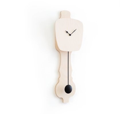 KLOQ Clock neutral wood small, black wood 59x20,4x6cm