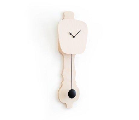 KLOQ Horloge bois neutre petit, bois noir 59x20,4x6cm