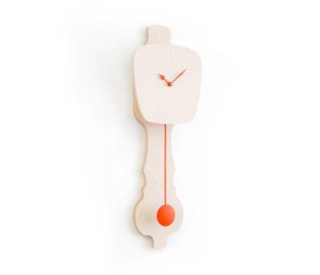 KLOQ Clock neutral wood small, orange wood 59x20,4x6cm