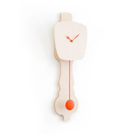 KLOQ Clock neutral klein Holz, orange Holz 59x20,4x6cm