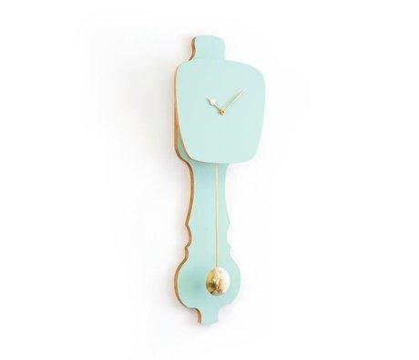 KLOQ Petite horloge vert menthe, 59x20,4x6cm bois d'or