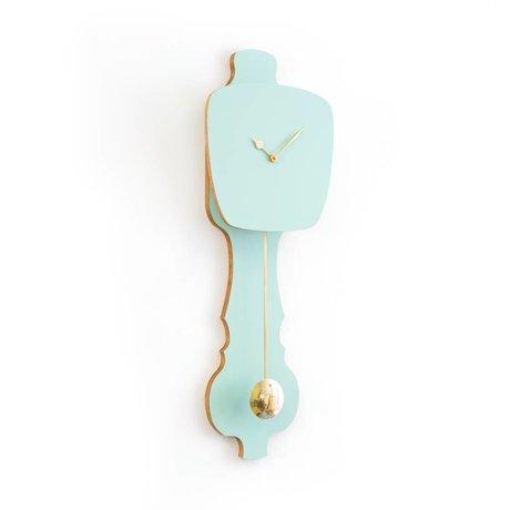 KLOQ Clock kleine Minze grün, gold Holz 59x20,4x6cm