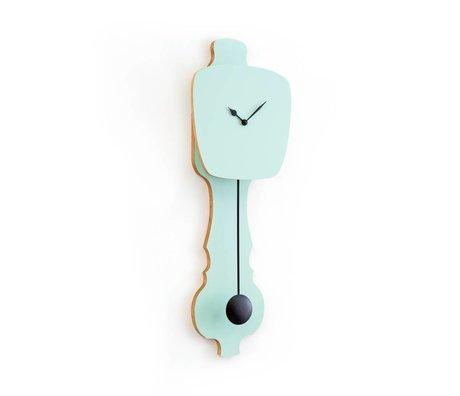 KLOQ menthe verte petite horloge, bois noir 59x20,4x6cm