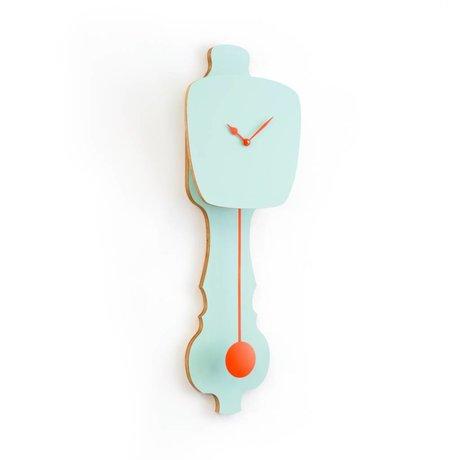 KLOQ Clock kleine Minze grün, orange Holz 59x20,4x6cm