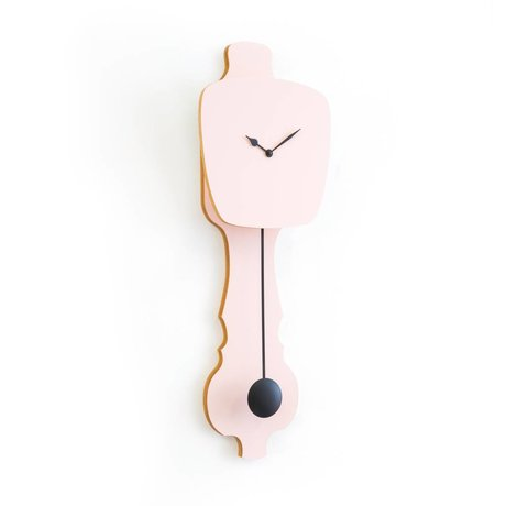 KLOQ Clock pink small black wood 59x20,4x6cm