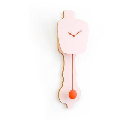 KLOQ Clock pink small orange wood 59x20,4x6cm