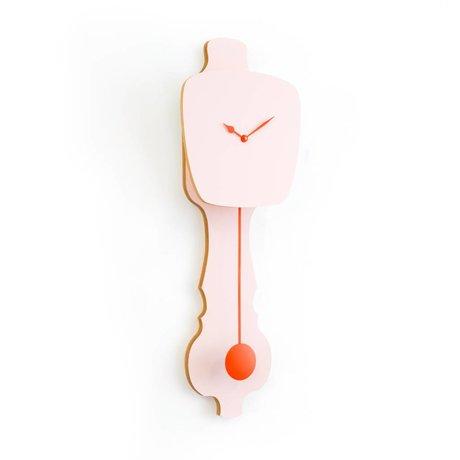 KLOQ Clock rosa kleine orange Holz 59x20,4x6cm