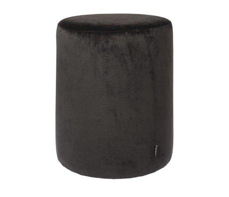 Riverdale Poef Chelsea zwart fluweel ø45x50cm