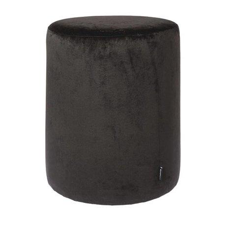 Riverdale Pouf Chelsea black velvet ø45x50cm