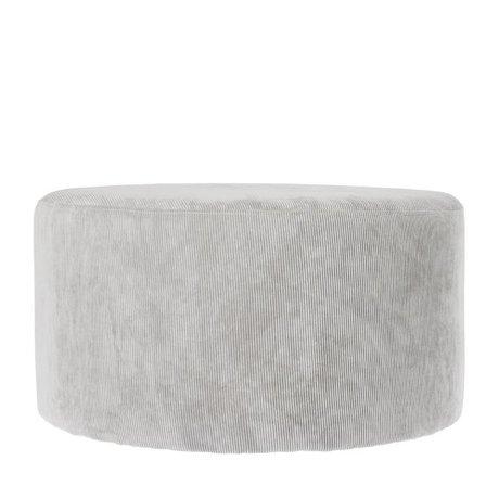 Riverdale Poef Ridge licht grijs textiel 70cm