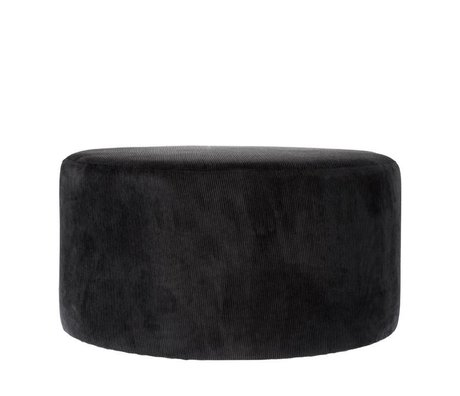 Riverdale Pouf Ridge black textile 70cm