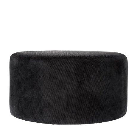 Riverdale Pouf Ridge textile noir 70cm