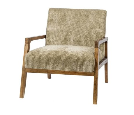Riverdale Fauteuil Louis vert textile bois 77cm