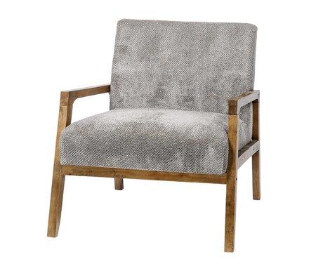 Riverdale Fauteuil Louis grijs textiel hout 77cm