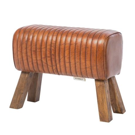 Riverdale Tabouret Tulsa en cuir marron bois 64x30x51cm