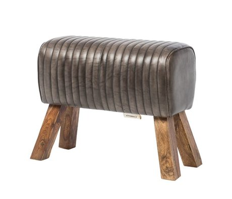 Riverdale Stool Tulsa gray leather wood 64x30x51cm