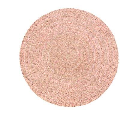 Riverdale Vloerkleed Medan rond roze jute ø150cm