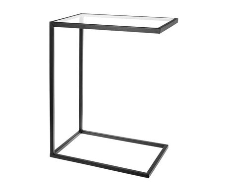 Riverdale Banktafel Elano zwart metaal glas 61cm