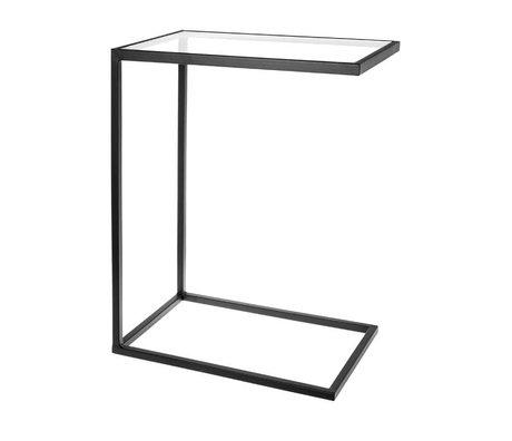 Riverdale Table basse Elano en verre métal noir 46x31x61cm