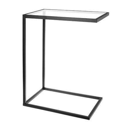 Riverdale Table d'appoint Elano en verre de métal noir 61cm