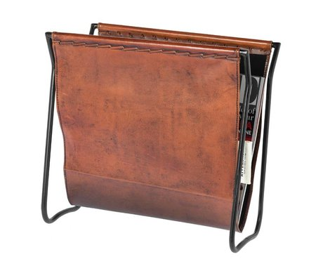 Riverdale Magazine holder Tulsa brown leather 28x36cm