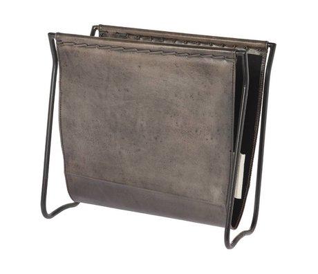 Riverdale Magazine holder Tulsa gray leather 38cm